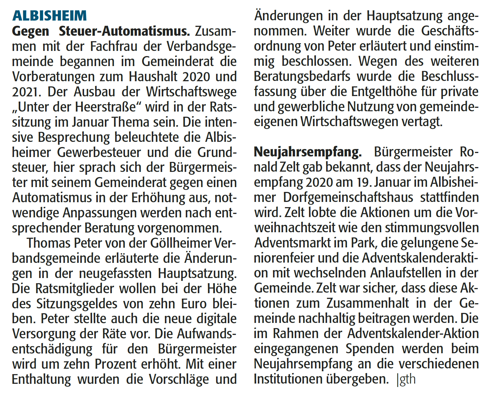 Artikel der Rheinpfalz vom 27.12.2019