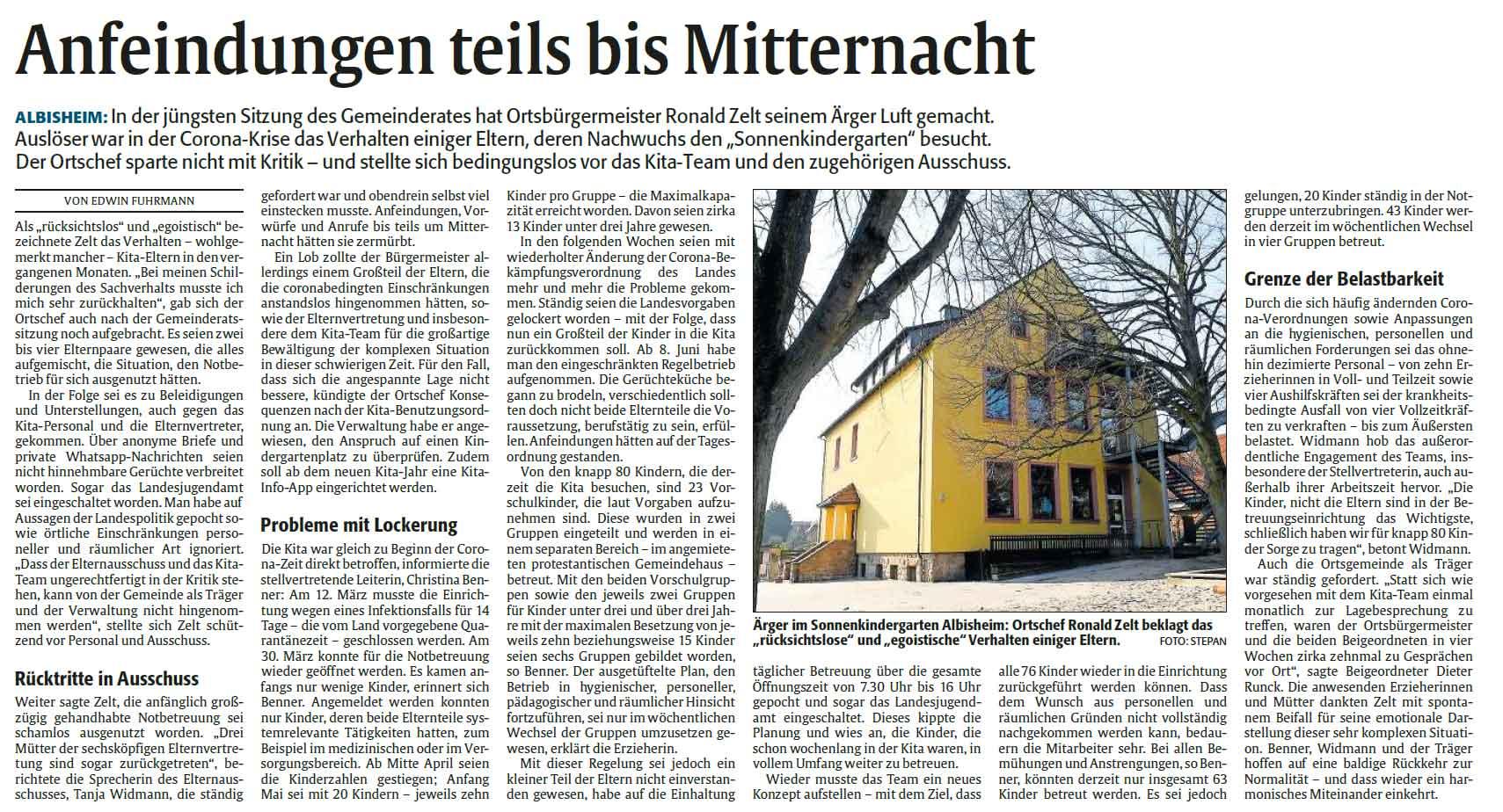 Bericht aus der Rheinpfalz